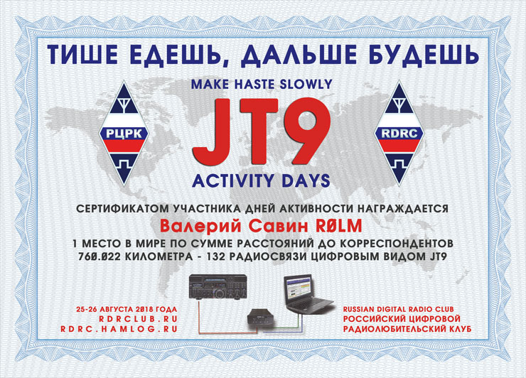 certificate JT9 Activity Days «Make haste slowly»