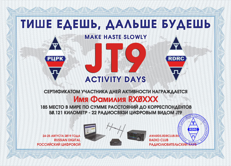 Certificate of JT9 Activity Days «Make haste slowly»